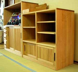 特注飾り棚と書類整理箱