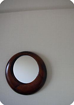 拭き漆円鏡