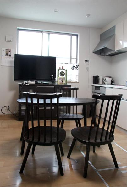 別注楕円ティーテーブル、スティックチェア